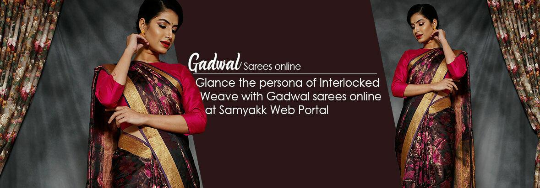 Glance the persona of Interlocked Weave with Gadwal sarees online at Samyakk Web Portal