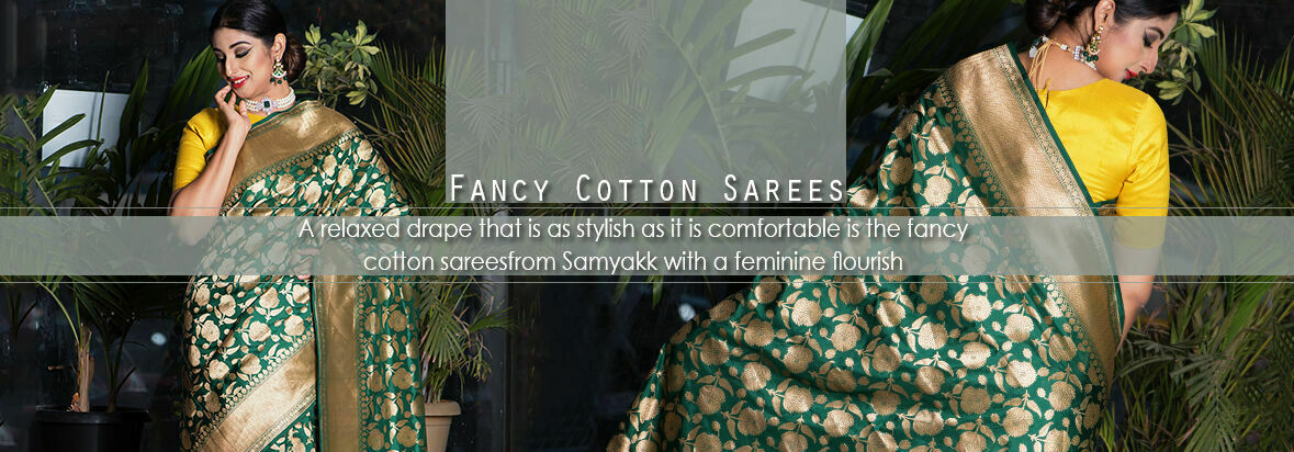 A relaxed drape that is as stylish as it is comfortable are the fancy cotton sarees from Samyakk with a feminine flourish.