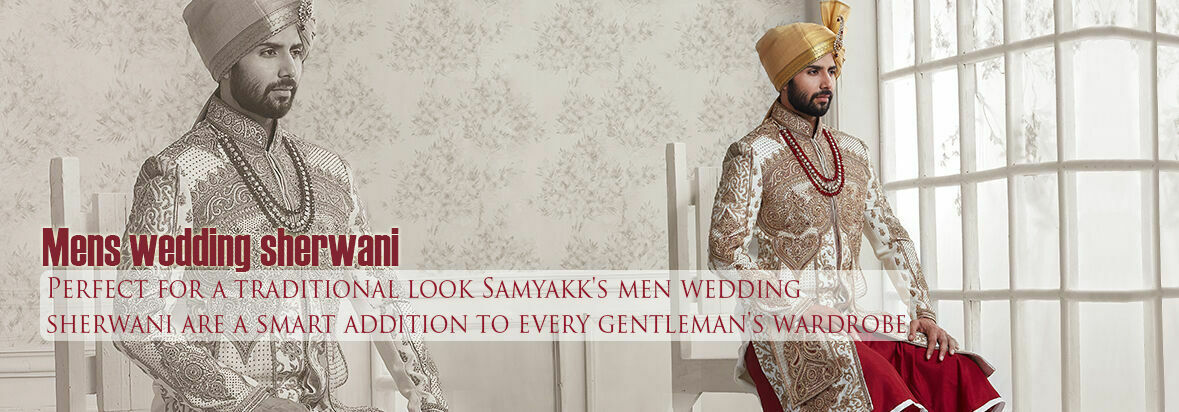 Perfect for a traditional look Samyakk's men wedding sherwani are a smart addition to every gentleman's wardrobe