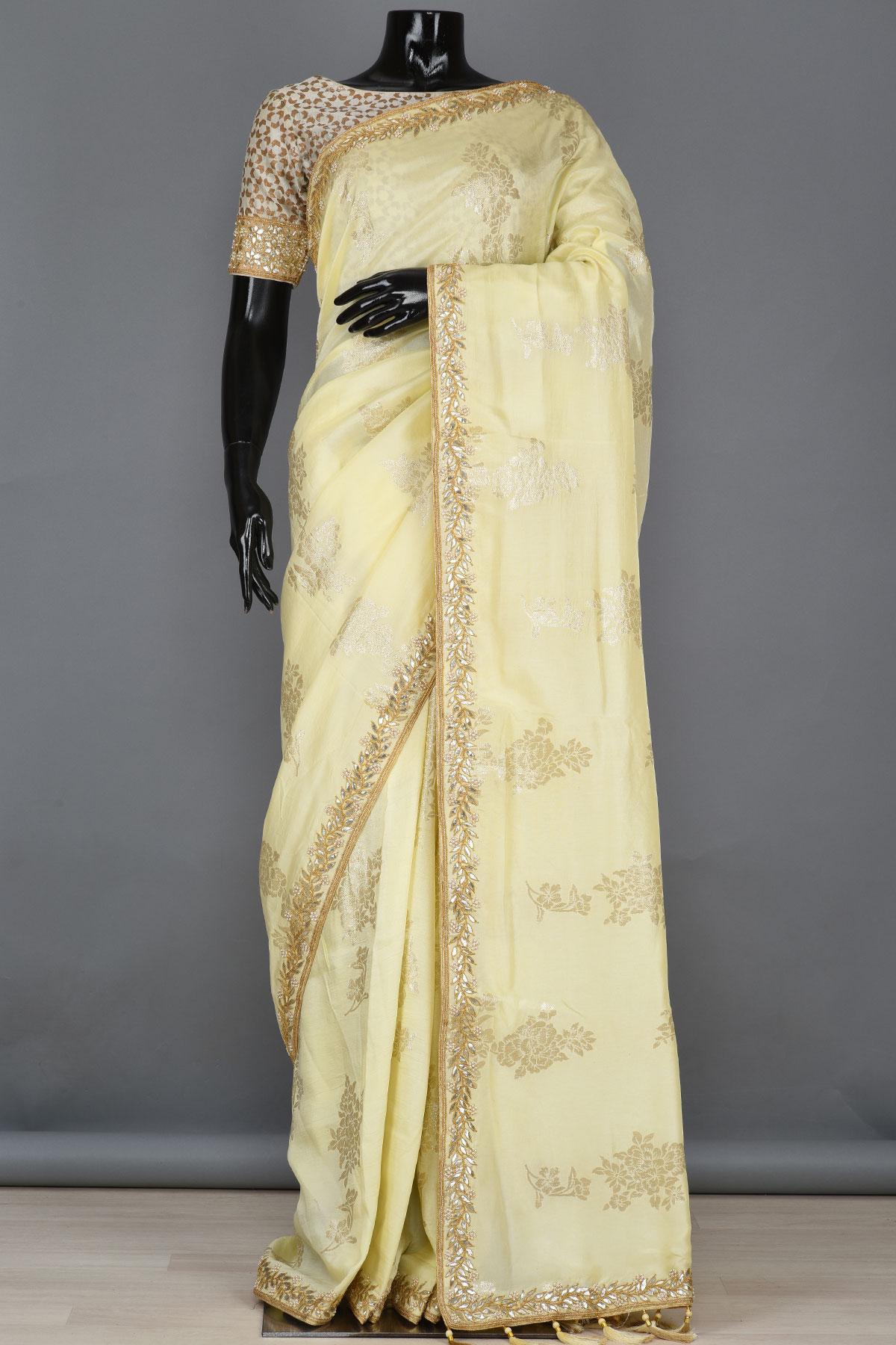 Buy Pastel Yellow Gota Embroidered Tussar Silk Saree Online