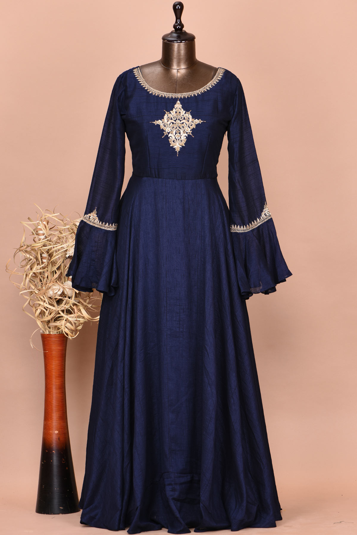 Buy Navy Blue Zardosi Embroidered Silk Party Wear Salwar