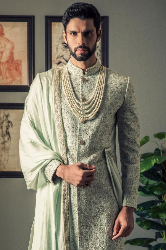 Buy Mint Green Bead Embroidered Raw Silk Wedding Sherwani Online