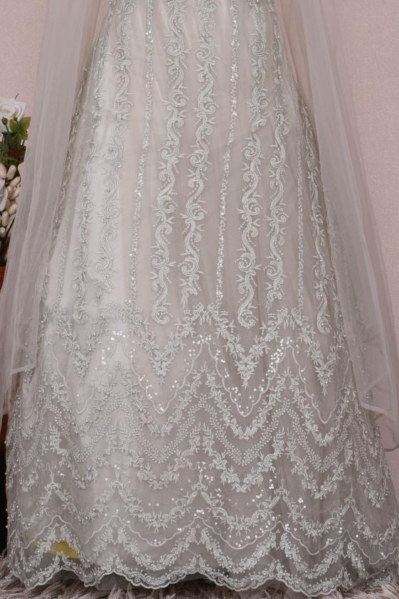 Image result for white net embroidered gown