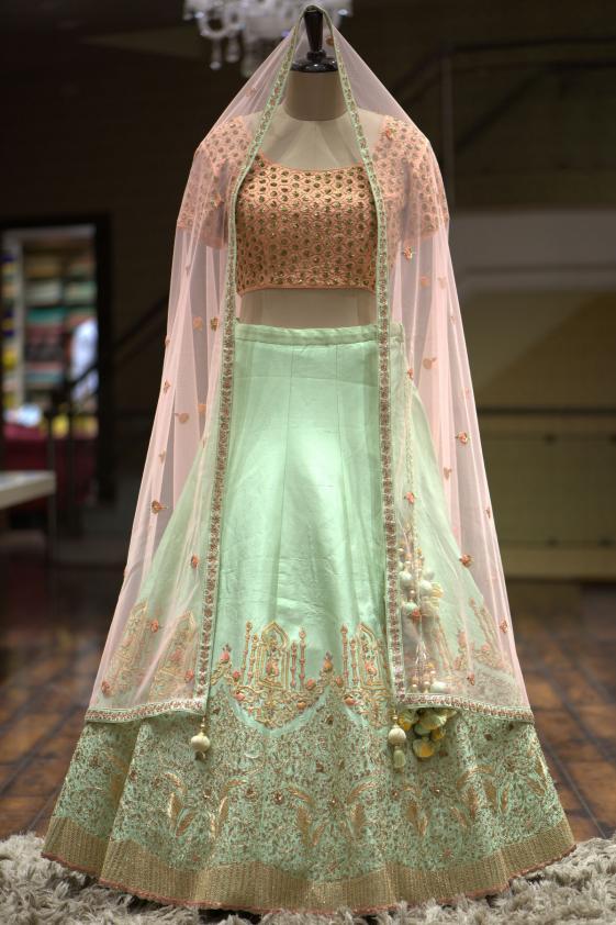Buy Mint Green Thread Embroidered Silk Bridal Lehenga Online Samyakk