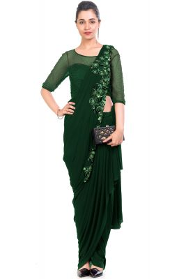 Dark Green Lycra Sequins Embroidered Saree-AWD6261
