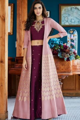 Purple & Mauve Zardosi Embroidered Raw Silk Jacket Lehenga-GC3079