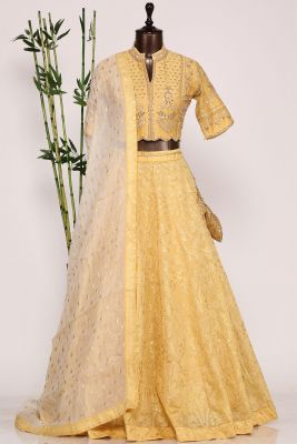 Mellow Yellow Resham Embroiderd Raw Silk Designer Lehenga-GC3454