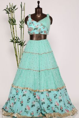 Mint Blue Sequins Embroiderd Georgette Designer Lehenga-GC3455