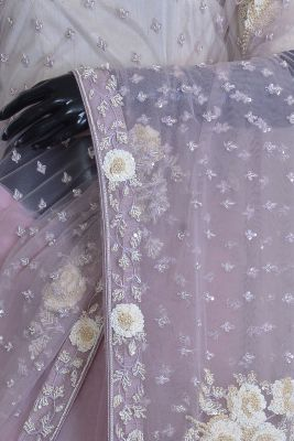 Mauve Pink Net Bead Embroidered Designer Saree-KF4564