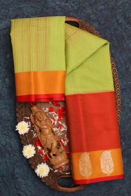 Pista Green Zari Woven Banarasi Silk Saree-KF4623