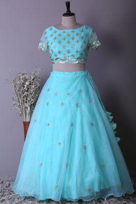 Sky Blue Organza Cutdana Embroidered Bridesmaid Lehenga-KF5842