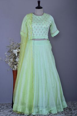 Spring Green Bead Embroidered Silk Bridesmaids Lehenga-KG1211