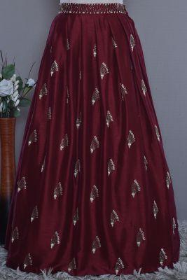 Maroon Raw Silk Cutdana Embroidered Jacket Lehenga-KG3666