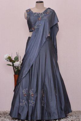 Paynes Grey Thread Embroidered Silk Draped Lehenga-KI1839