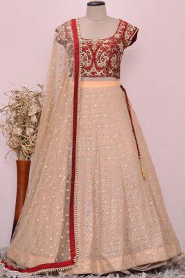 Maroon & Beige Zardosi Embroidered Silk Bridesmaids Lehenga-KI3875