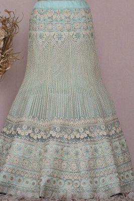 Seafoam Green Zari Embroidered Raw silk Bridesmaids Lehenga-KI4089