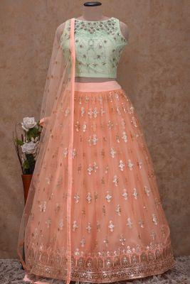 Light Green Sequins Embroidered Net Bridesmaids Lehenga-KI5089