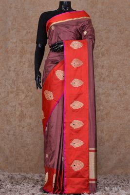 8bfc49e0d547d Bronze Zari Woven Banarasi Silk Saree-KI5249INR 13620