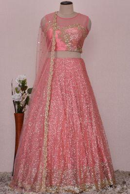 Brink Pink Net Sequins Embroidered Bridesmaid Lehenga-KJ1131