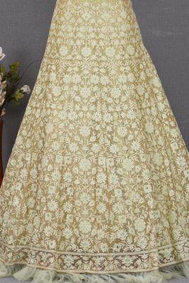 Light Green & Gold Stone Embroidered Net Bridesmaids Lehenga-KJ2314