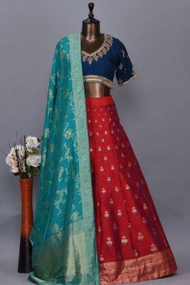 Carnelian Red & Peacock Blue Zari Woven Silk Party Wear Lehenga-KK1406