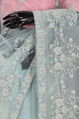 Celeste Blue Bead Embroidered Net Saree-KL1311