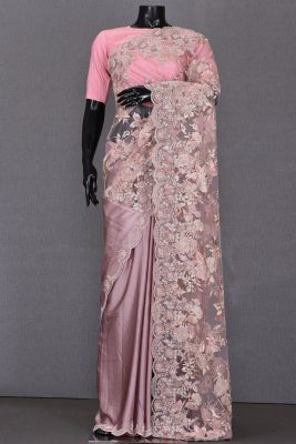 Crepe Pink Sequins Embroidered Net & Satin Saree-KL1312