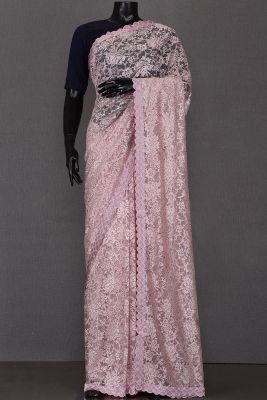 Lavender Pink Stone Embroidered Lace Saree-KL1584