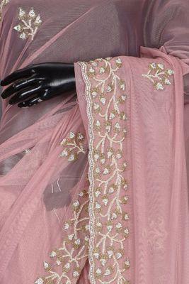 Salmon Pink Bead Embroidered Net Saree-KL2000