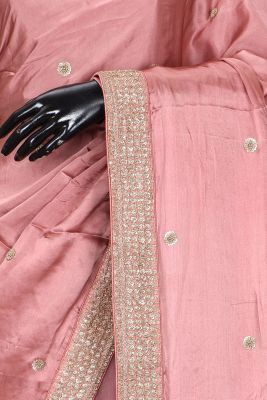 Salmon Pink Sequins Embroidered Satin & Net Saree-KL2076