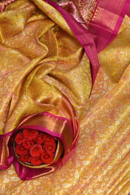 Jonquil Yellow Kanchipuram Silk Zari Woven Saree-KL3033