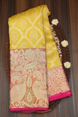 Yellow & Gold Zari Woven Kanchipuram Silk Saree-KL3114