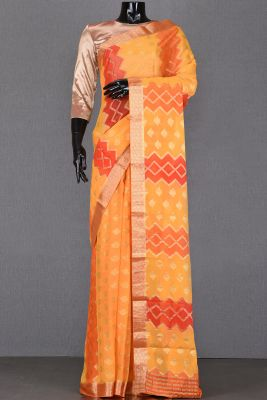 Turmeric Yellow & Orange Zari Woven Georgette Saree-PA1939