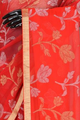 Orange & Red Zari Woven Chiffon Saree-PA1961