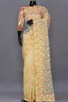 Light Yellow Resham Embroidered Net Saree-PA2143