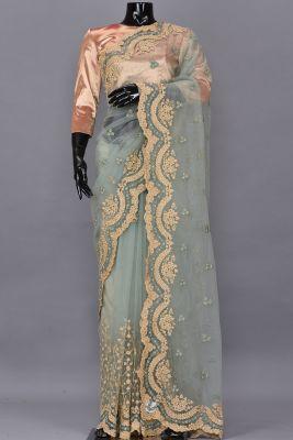 Laurel Green Thread Embroidered Net Saree-PB1003
