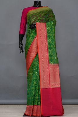 Dark Forest Green Zari Woven Banarasi Organza Saree-PB3383