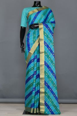 Indigo, Sky Blue & Green Zari Woven Georgette Saree-PB4098