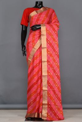 Peach, Red & Orange Zari Woven Georgette Saree-PB4099