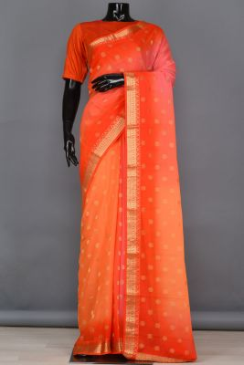 Flurocent Orange Zari Woven Georgette Saree-PB4107
