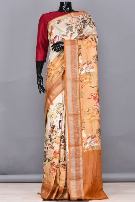Brown & Off White Shaded Printed Tussar Saree-PB4595