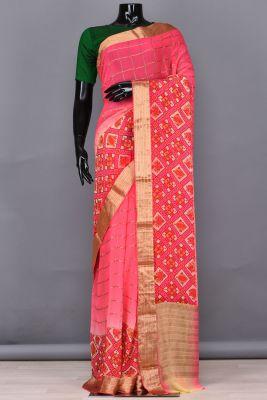 Neon Pink Zari woven Georgette Saree-PB4610