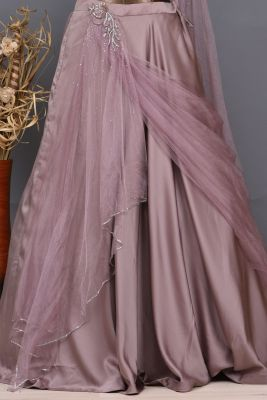 Mauve Stone Embroidered Satin Party Wear Lehenga-PC1290