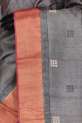 Fossil Grey Zari woven Tussar Silk Saree-PC1625