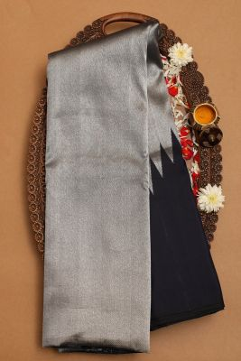 Dark Blue & Silver Zari Woven Kanchipuram Silk Saree-PC1691