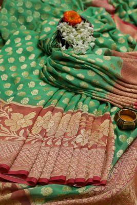 Persian Green Zari Woven Banarasi Georgette Saree-PC2256