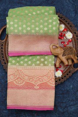 Light Green Zari Woven Banarasi Georgette Saree-PC2262