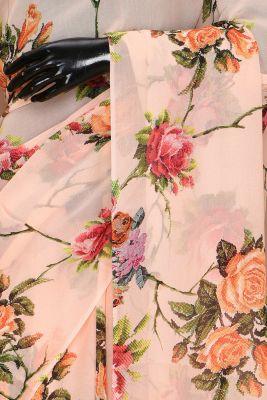 Camellia Peach Printed Georgette Saree-PC2341