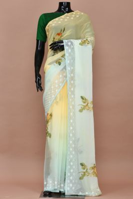 Mellow Yellow & Mint Blue Shaded Printed Chiffon Saree-PC2361