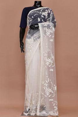 White Bead Embroidered Net Saree-PC2392